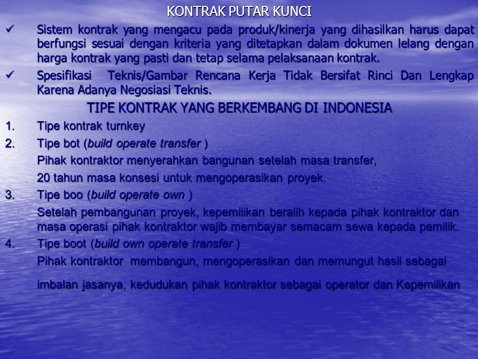 TIPE KONTRAK YANG BERKEMBANG DI INDONESIA