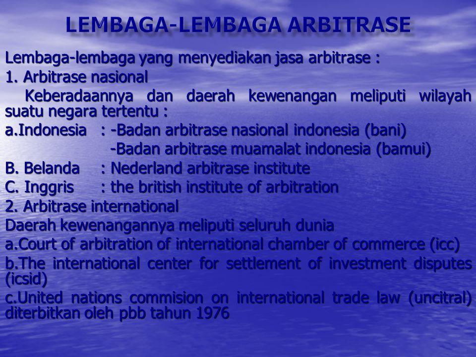 lembaga-lembaga arbitrase