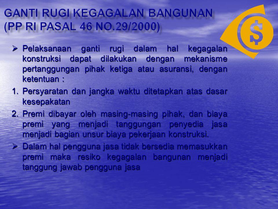 GANTI RUGI KEGAGALAN BANGUNAN (PP Ri pasal 46 NO.29/2000)