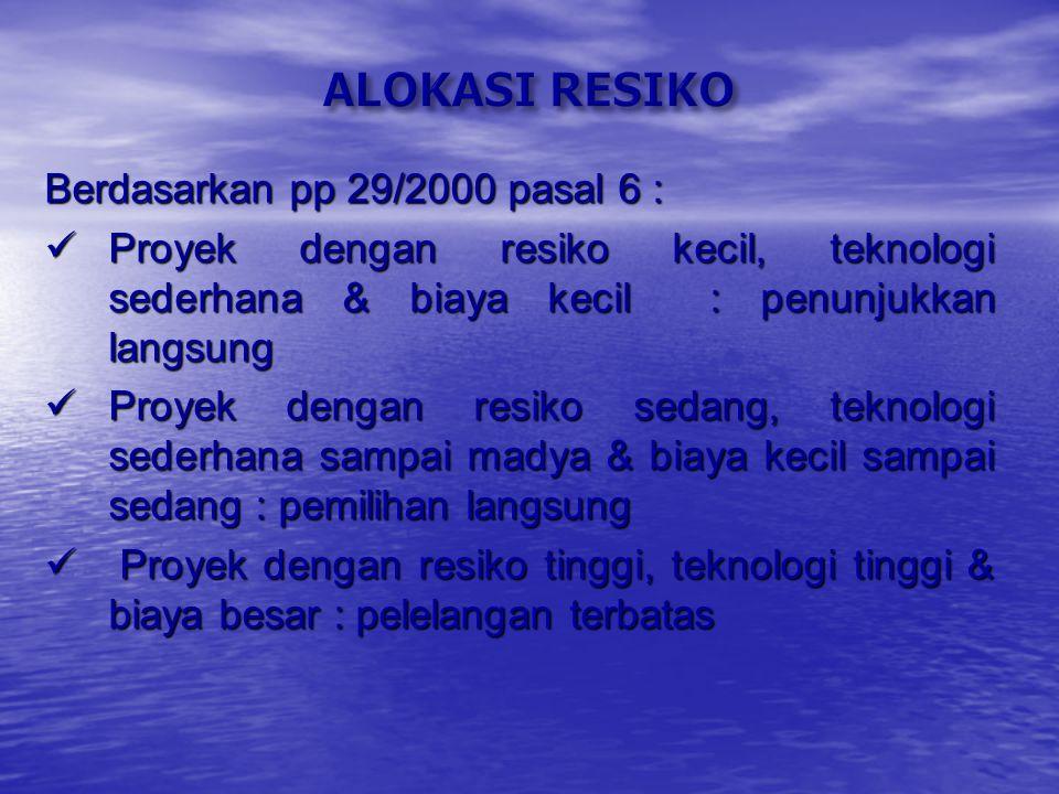 ALOKASI RESIKO Berdasarkan pp 29/2000 pasal 6 :