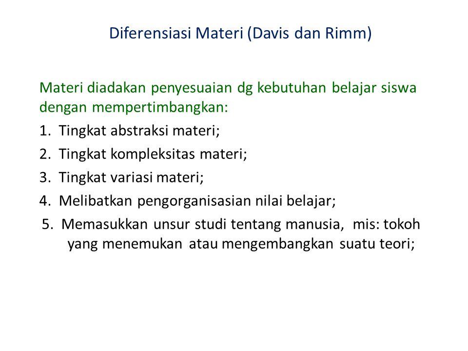Diferensiasi Materi (Davis dan Rimm)