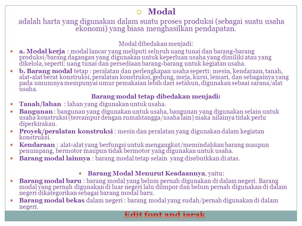Modal Edit font and jarak