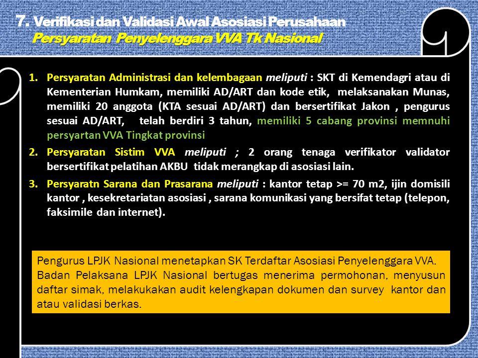7. Verifikasi dan Validasi Awal Asosiasi Perusahaan Persyaratan Penyelenggara VVA Tk Nasional