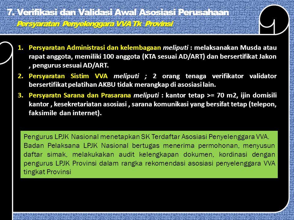 7. Verifikasi dan Validasi Awal Asosiasi Perusahaan Persyaratan Penyelenggara VVA Tk Provinsi