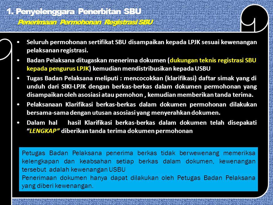 1. Penyelenggara Penerbitan SBU Penerimaan Permohonan Registrasi SBU