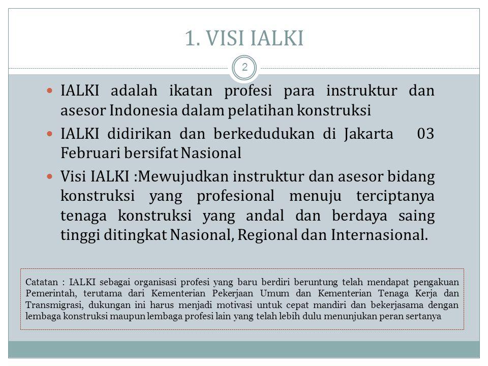1. VISI IALKI IALKI adalah ikatan profesi para instruktur dan asesor Indonesia dalam pelatihan konstruksi.