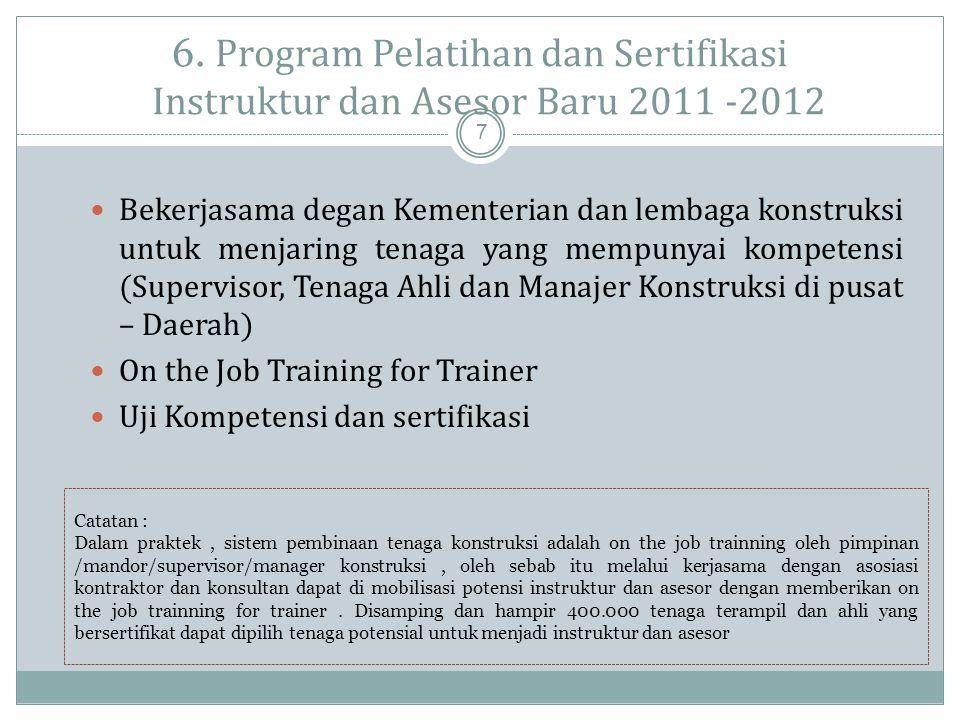 6. Program Pelatihan dan Sertifikasi Instruktur dan Asesor Baru 2011 -2012