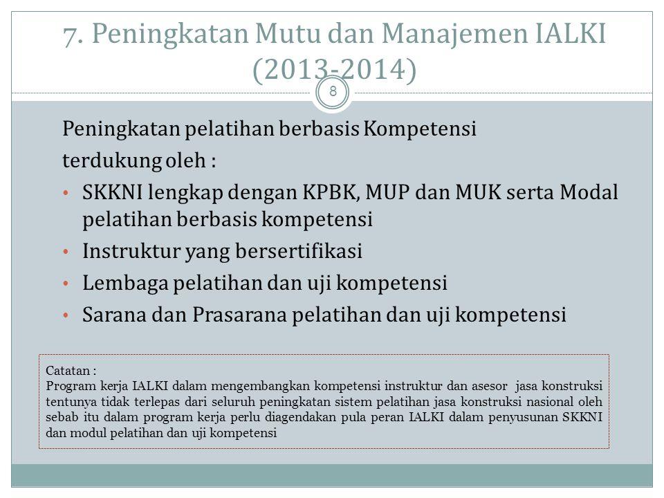 7. Peningkatan Mutu dan Manajemen IALKI (2013-2014)