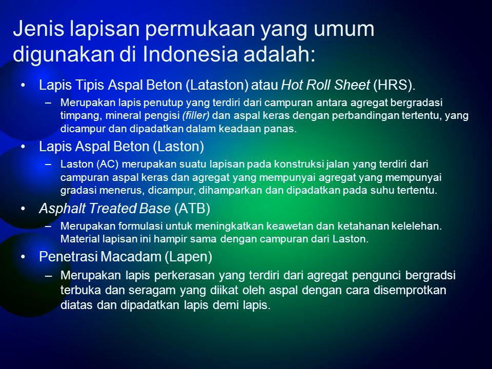 Jenis lapisan permukaan yang umum digunakan di Indonesia adalah: