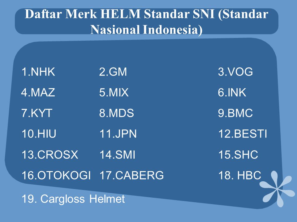 Daftar Merk HELM Standar SNI (Standar Nasional Indonesia)