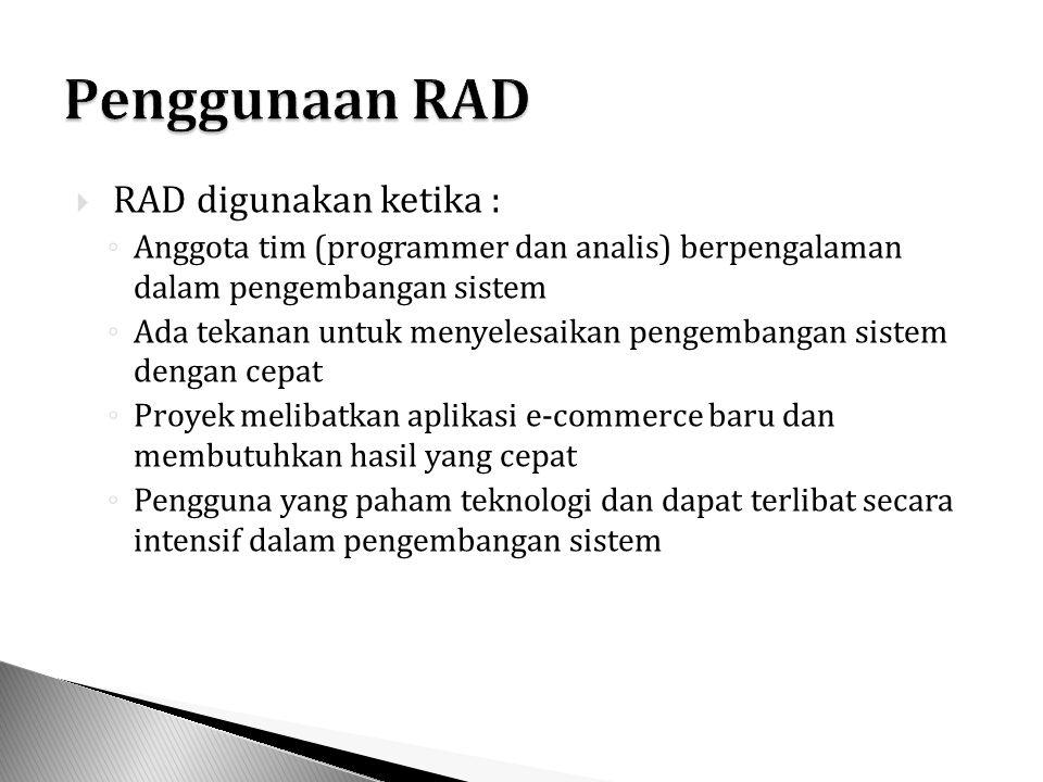Penggunaan RAD RAD digunakan ketika :