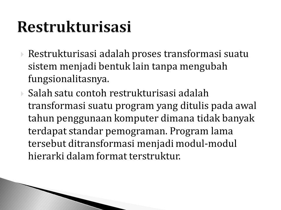 Restrukturisasi Restrukturisasi adalah proses transformasi suatu sistem menjadi bentuk lain tanpa mengubah fungsionalitasnya.
