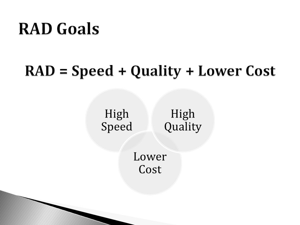 RAD = Speed + Quality + Lower Cost
