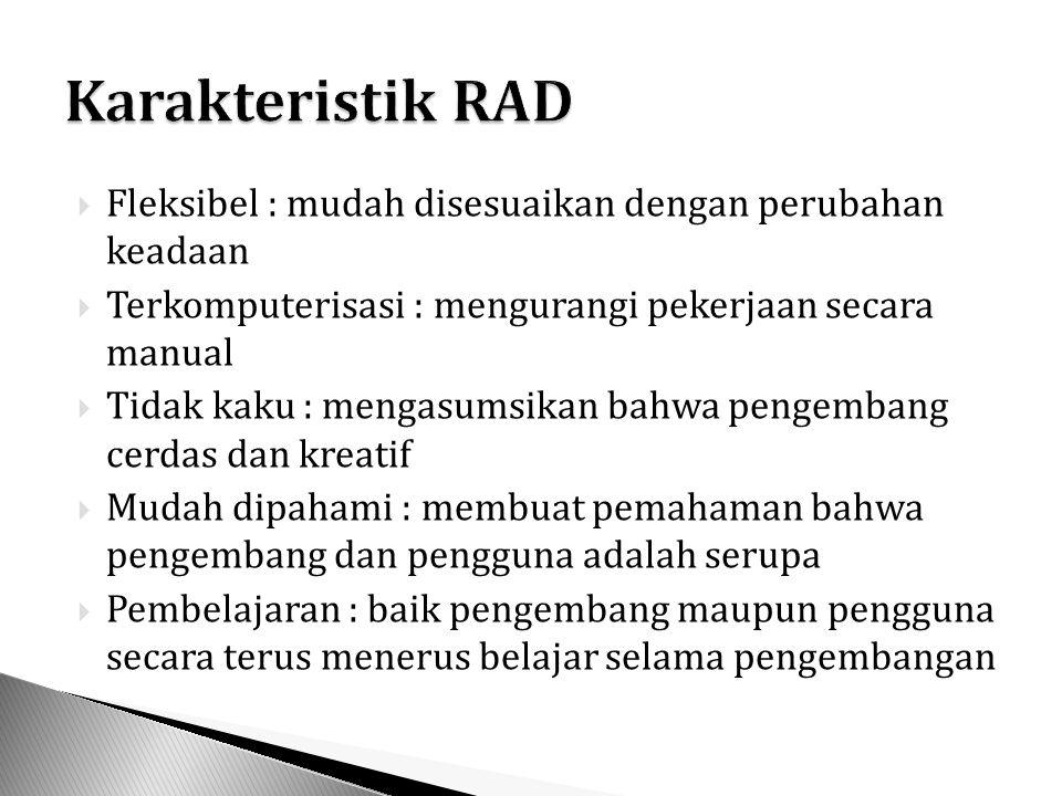 Karakteristik RAD Fleksibel : mudah disesuaikan dengan perubahan keadaan. Terkomputerisasi : mengurangi pekerjaan secara manual.