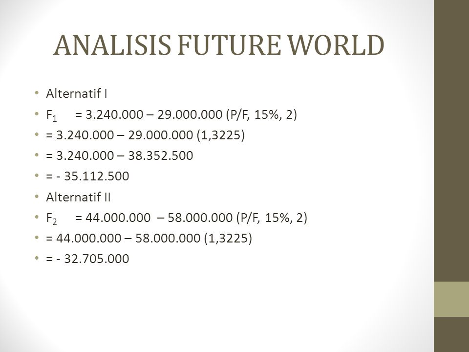 ANALISIS FUTURE WORLD Alternatif I