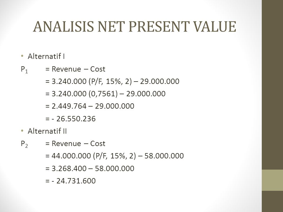 ANALISIS NET PRESENT VALUE