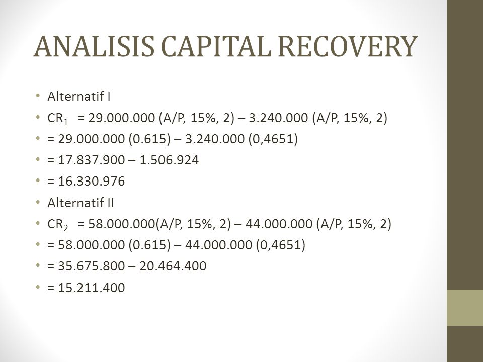 ANALISIS CAPITAL RECOVERY
