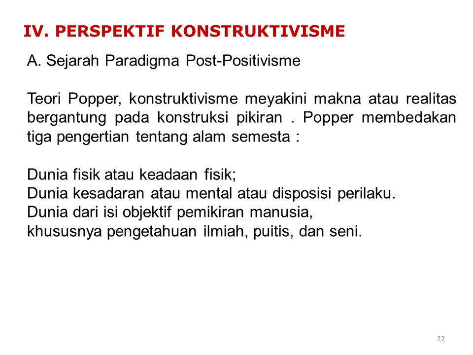 IV. PERSPEKTIF KONSTRUKTIVISME