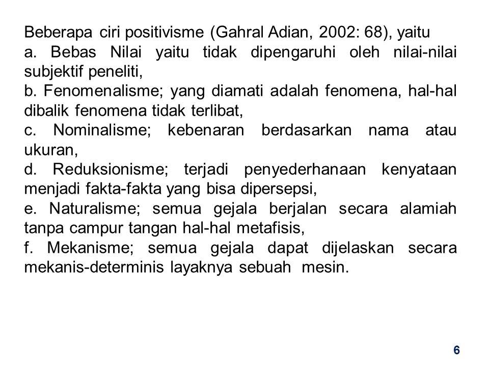Beberapa ciri positivisme (Gahral Adian, 2002: 68), yaitu