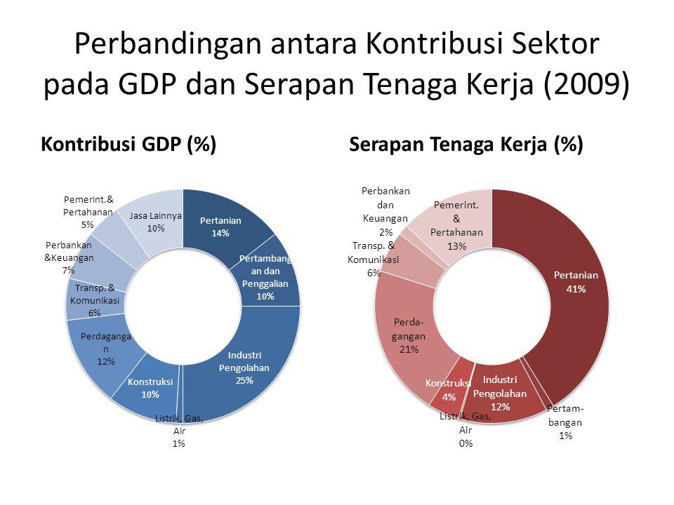 Perbandingan antara Kontribusi Sektor pada GDP dan Serapan Tenaga Kerja (2009)