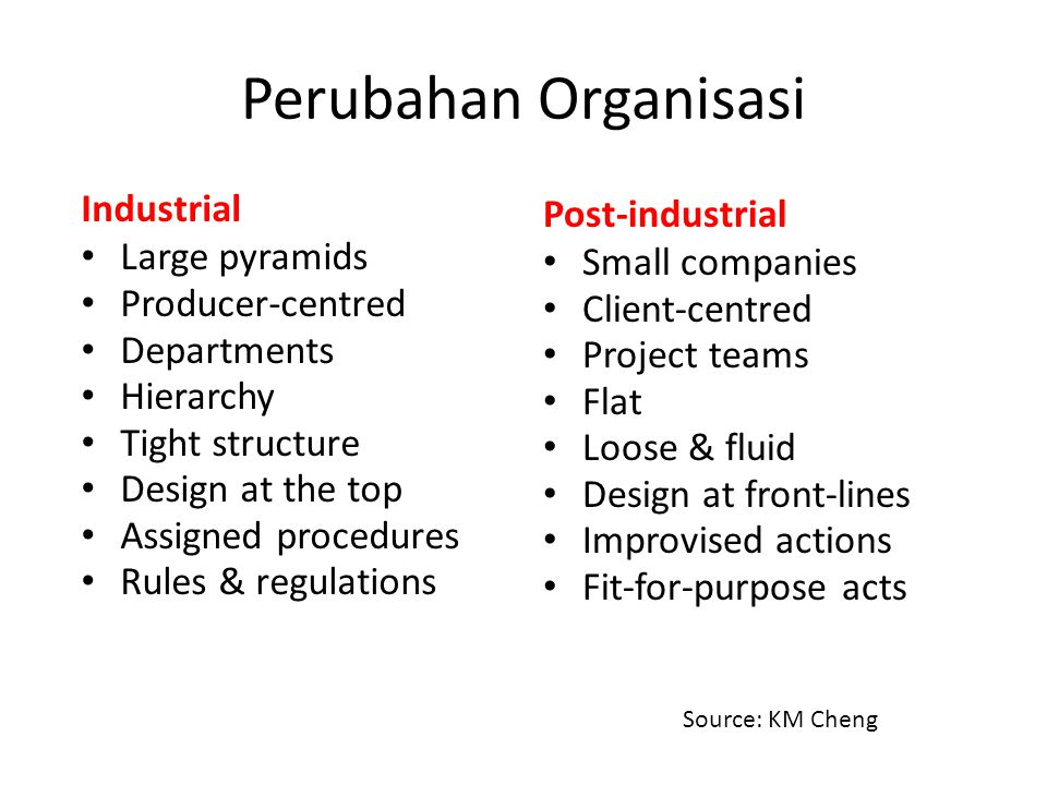 Perubahan Organisasi Industrial Large pyramids Producer-centred