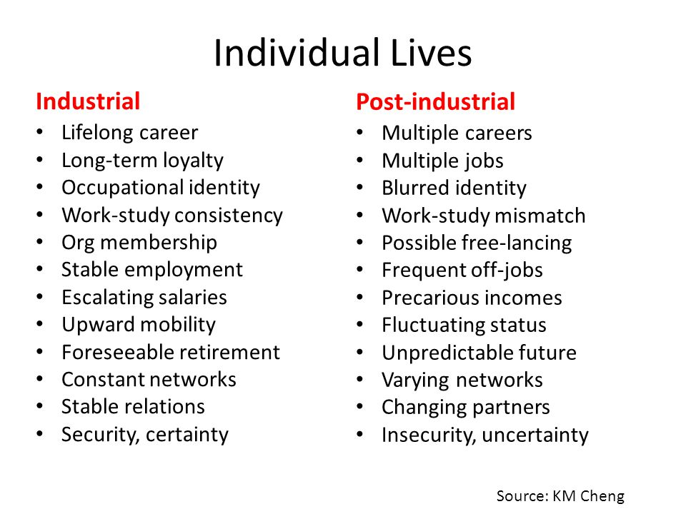 Individual Lives Industrial Post-industrial Lifelong career