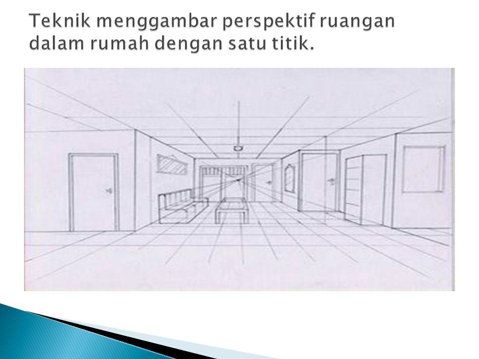 Teknik menggambar perspektif ruangan dalam rumah dengan satu titik.