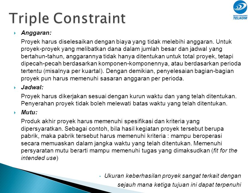 Triple Constraint Anggaran: