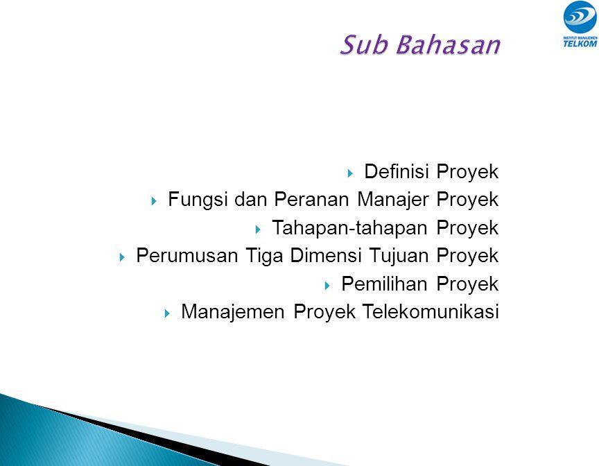 Sub Bahasan Definisi Proyek Fungsi dan Peranan Manajer Proyek