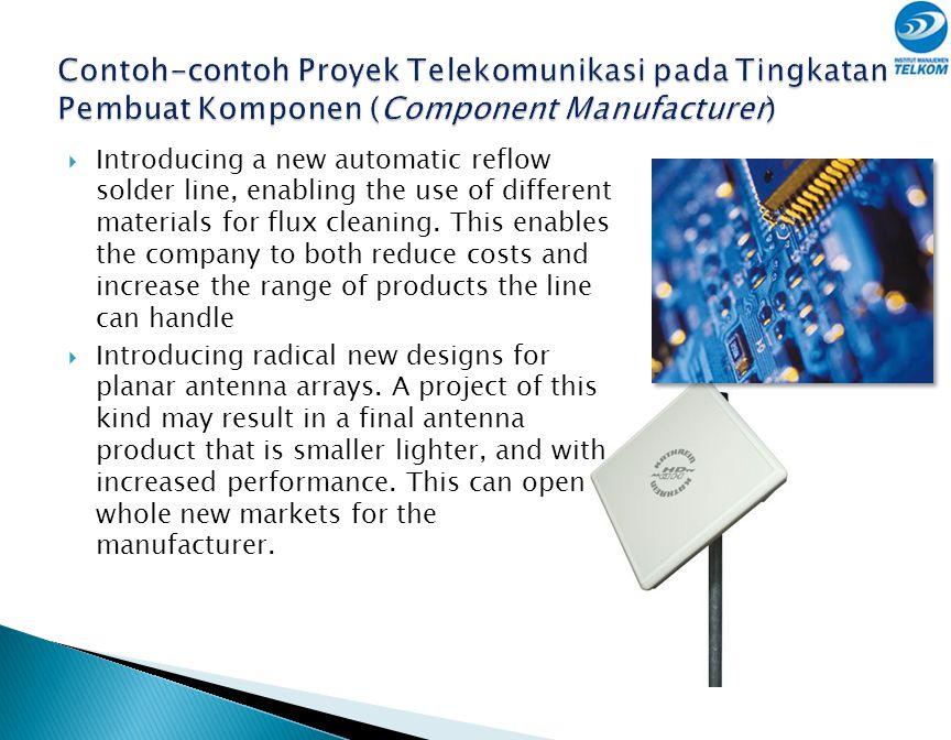Contoh-contoh Proyek Telekomunikasi pada Tingkatan Pembuat Komponen (Component Manufacturer)