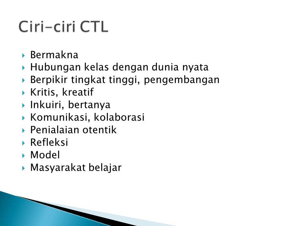 Ciri-ciri CTL Bermakna Hubungan kelas dengan dunia nyata