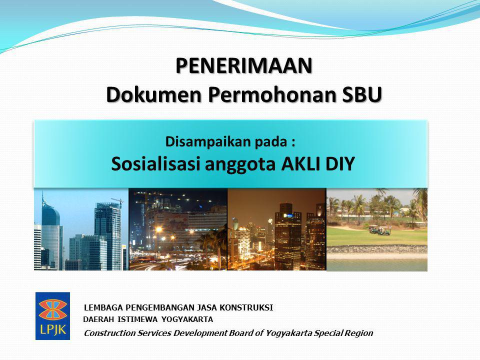PENERIMAAN Dokumen Permohonan SBU