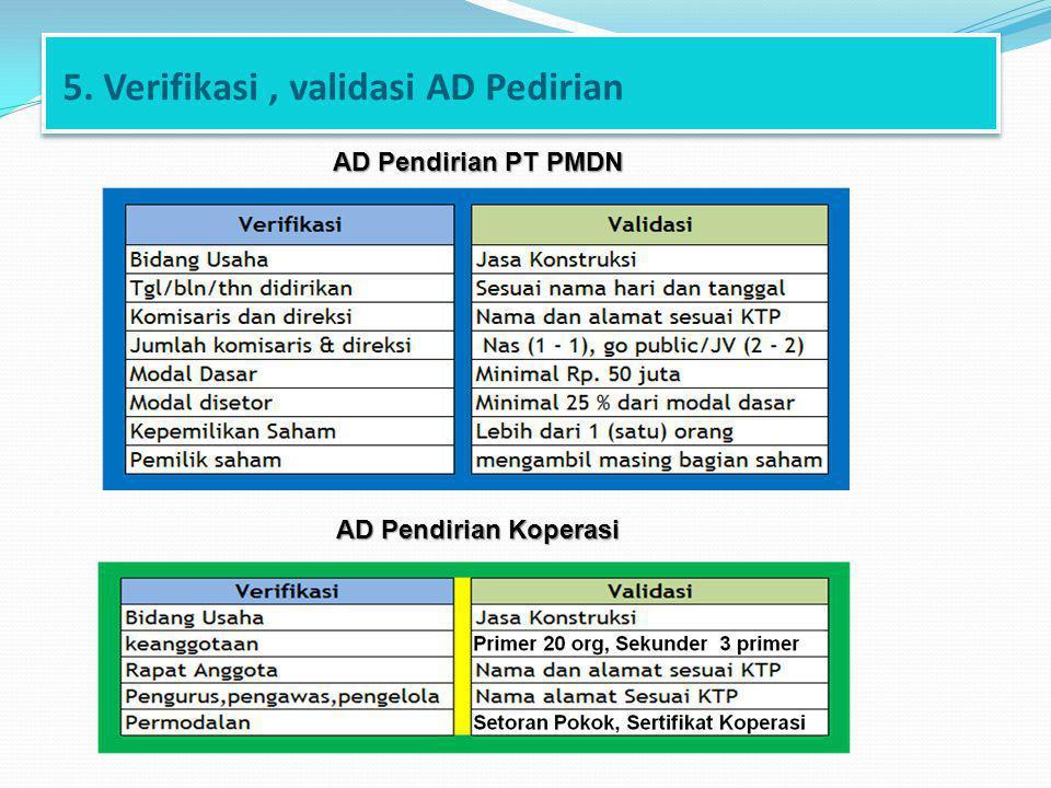 5. Verifikasi , validasi AD Pedirian
