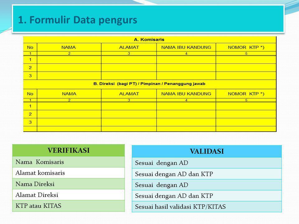 1. Formulir Data pengurs VERIFIKASI VALIDASI Nama Komisaris