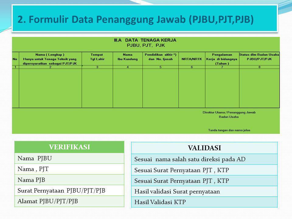 2. Formulir Data Penanggung Jawab (PJBU,PJT,PJB)