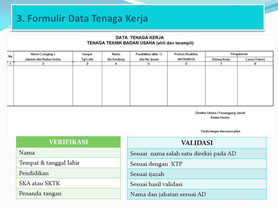 3. Formulir Data Tenaga Kerja