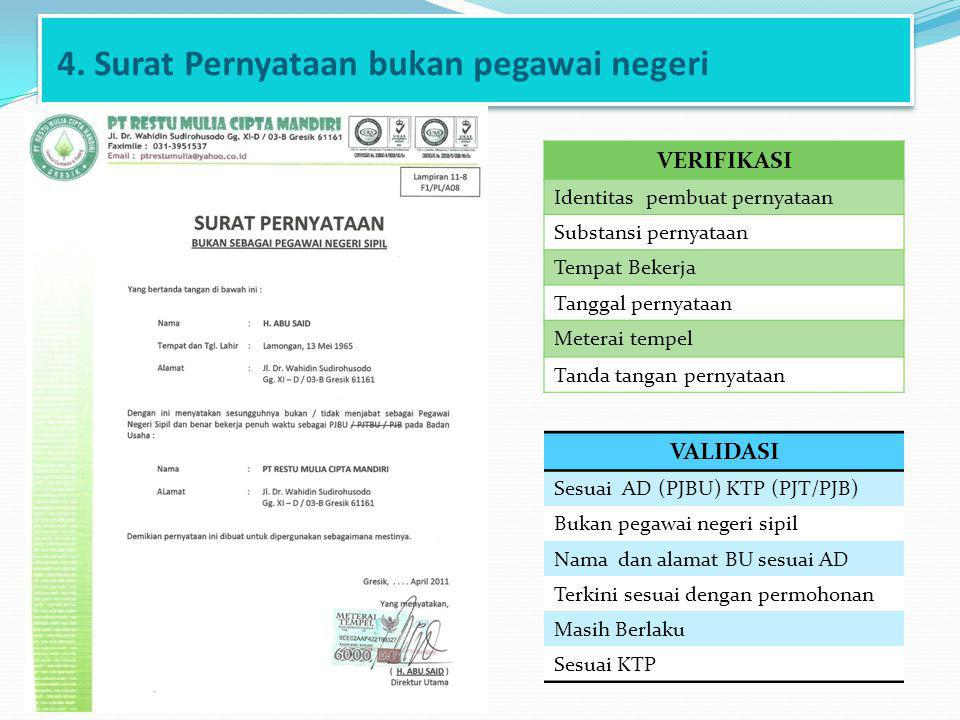 4. Surat Pernyataan bukan pegawai negeri