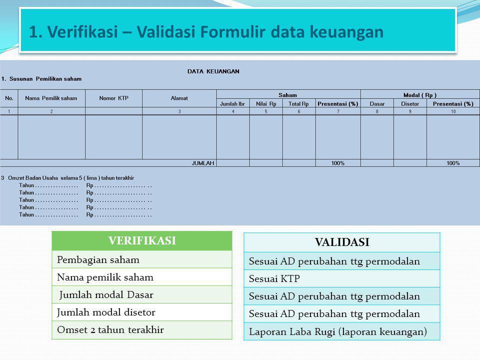 1. Verifikasi – Validasi Formulir data keuangan