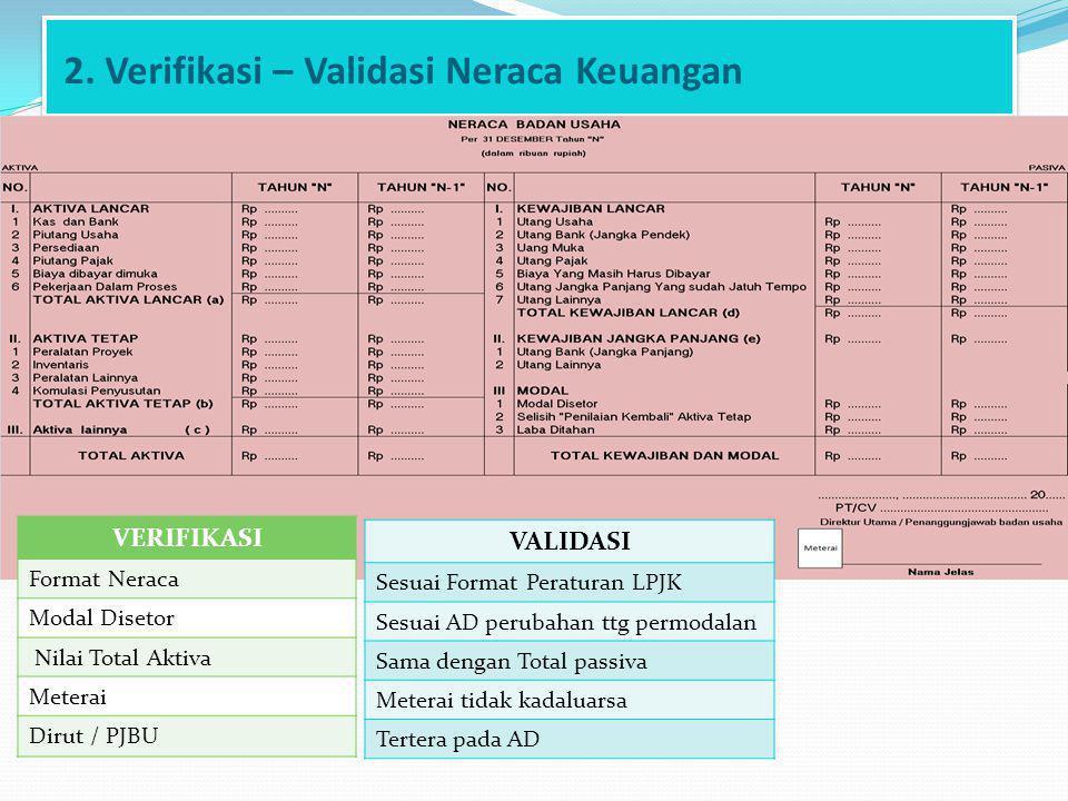 2. Verifikasi – Validasi Neraca Keuangan