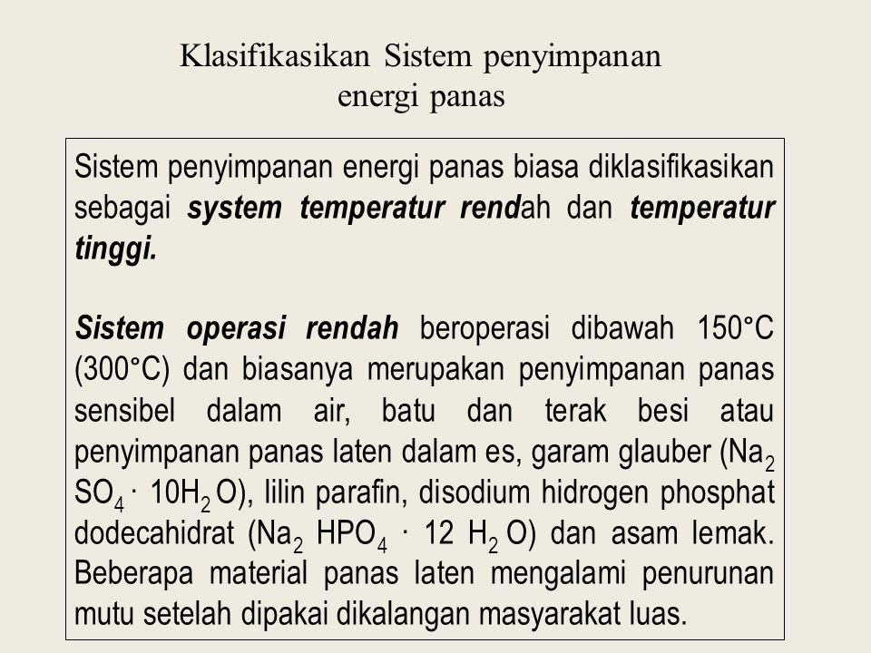 Klasifikasikan Sistem penyimpanan energi panas