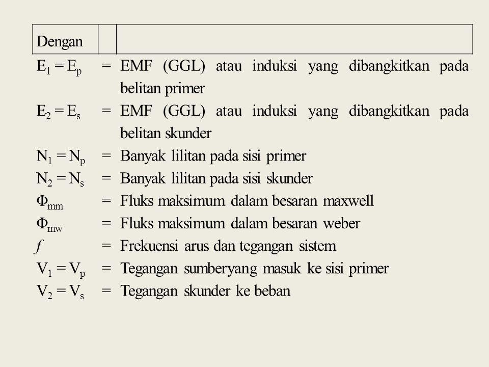 Dengan E1 = Ep. = EMF (GGL) atau induksi yang dibangkitkan pada belitan primer. E2 = Es.
