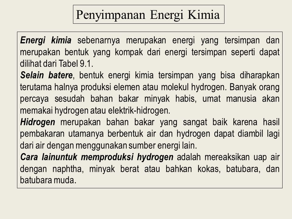 Penyimpanan Energi Kimia