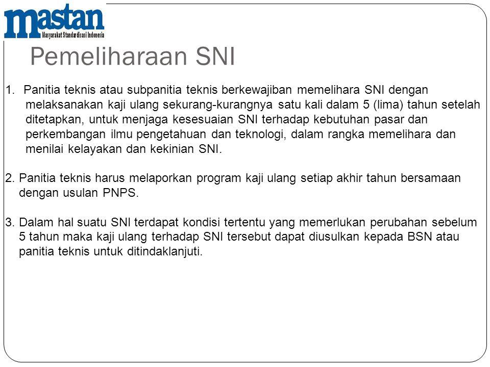 Pemeliharaan SNI Panitia teknis atau subpanitia teknis berkewajiban memelihara SNI dengan.