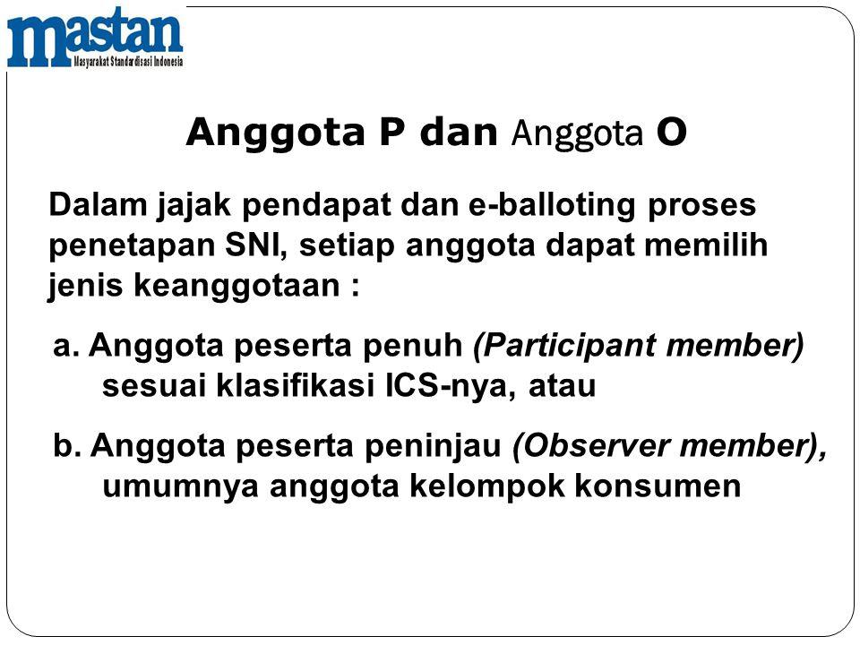 Anggota P dan Anggota O Dalam jajak pendapat dan e-balloting proses penetapan SNI, setiap anggota dapat memilih jenis keanggotaan :