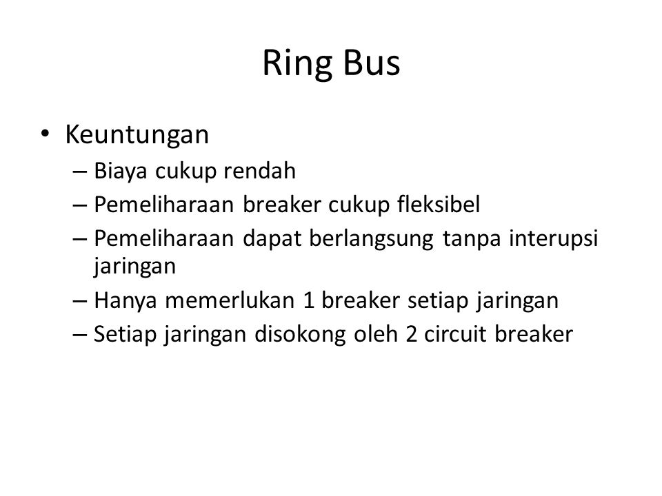 Ring Bus Keuntungan Biaya cukup rendah
