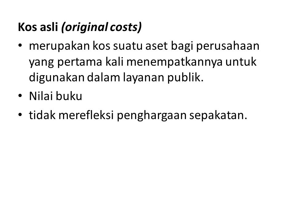 Kos asli (original costs)