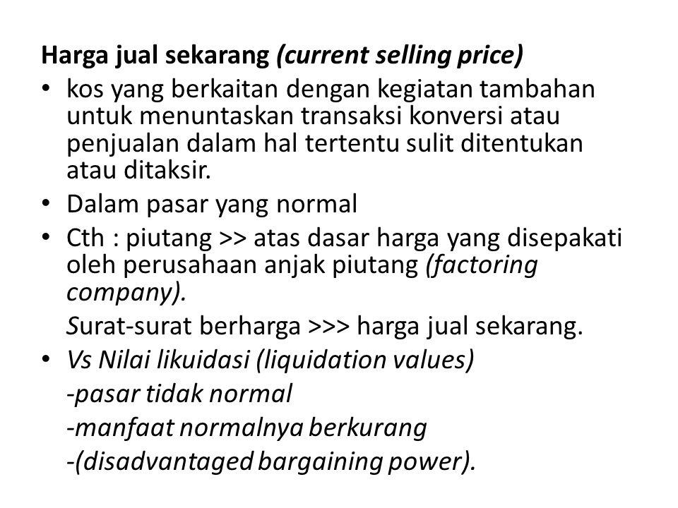 Harga jual sekarang (current selling price)