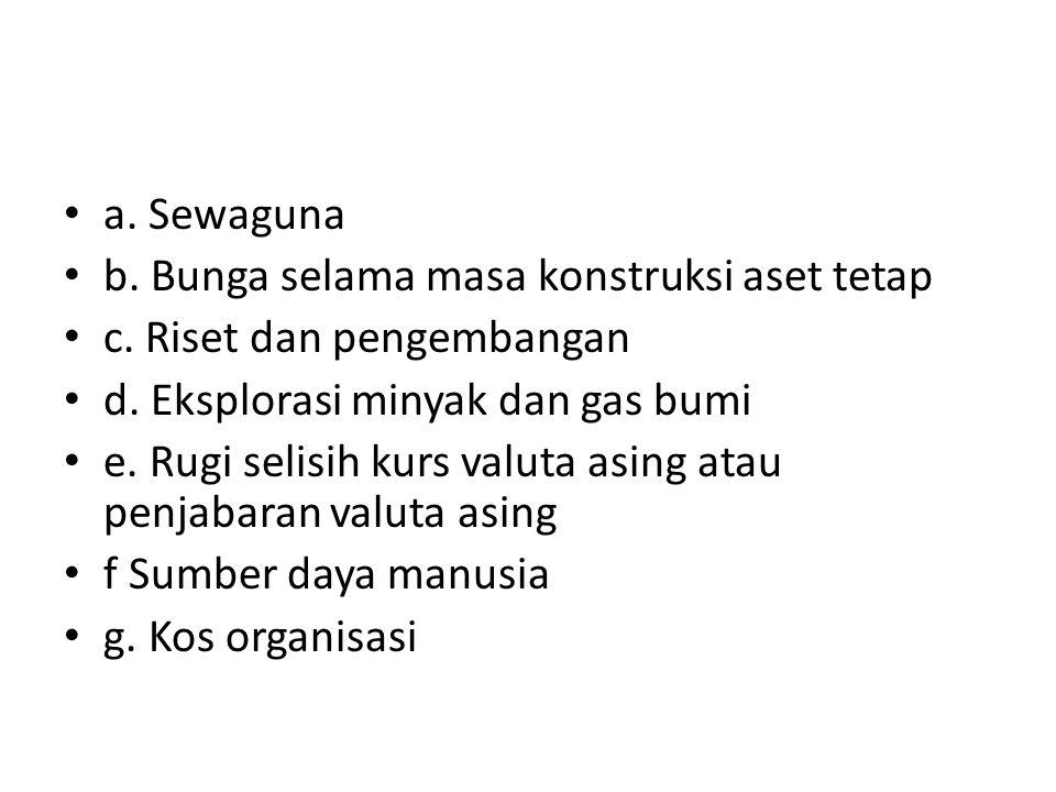 a. Sewaguna b. Bunga selama masa konstruksi aset tetap. c. Riset dan pengembangan. d. Eksplorasi minyak dan gas bumi.