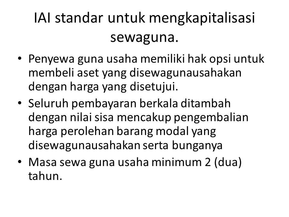 IAI standar untuk mengkapitalisasi sewaguna.