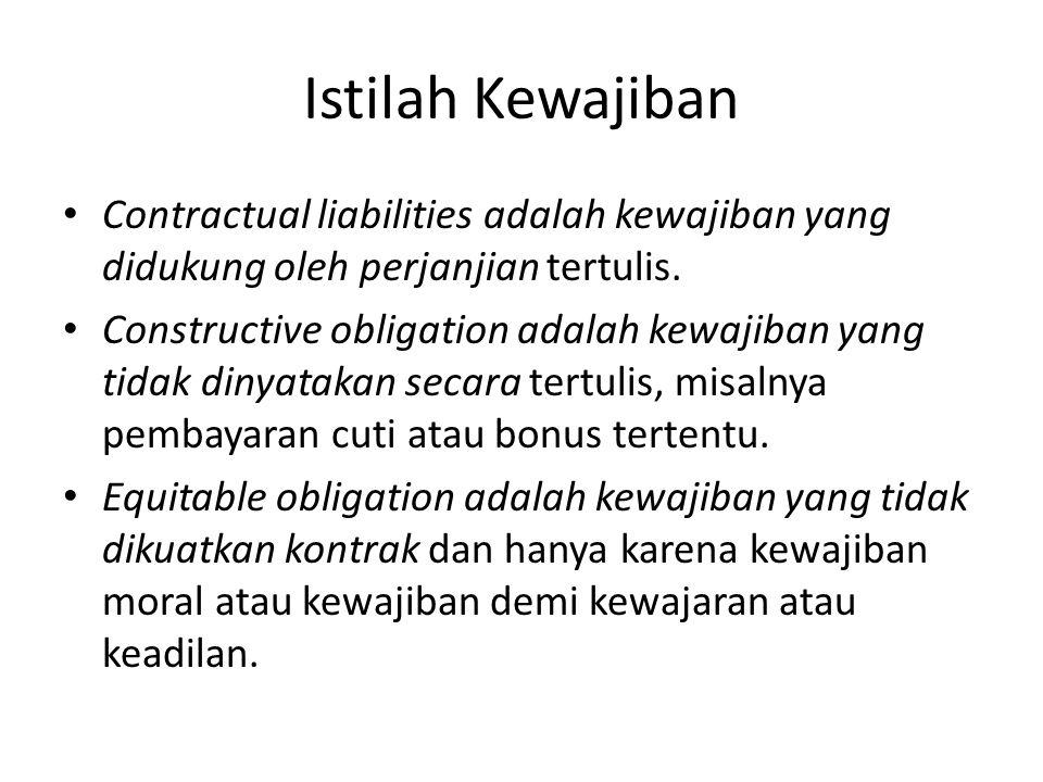 Istilah Kewajiban Contractual liabilities adalah kewajiban yang didukung oleh perjanjian tertulis.